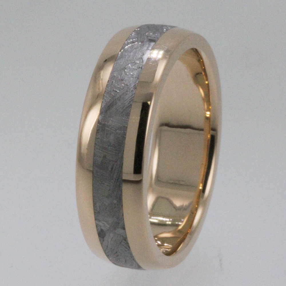 Titanium ring with Meteorite inlay