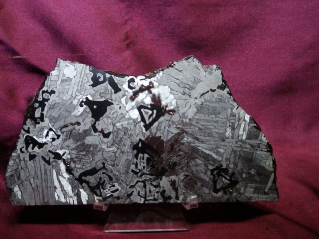 Seymchan Pallasite Meteorite Slice with Chromite inclusions - 403.4 gms
